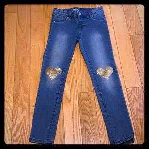 Cat & Jack Size 10 Gold Glitter Heart Jeans